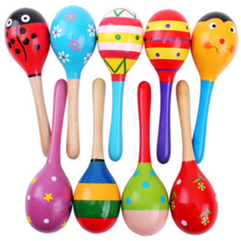 Orff Instruments Colorful Small Wooden Hammer Cartoon Sand Ball Knock Wooden Bell Baby Educational Toys Kids Best Gift Delicacies Loved By All Maraca