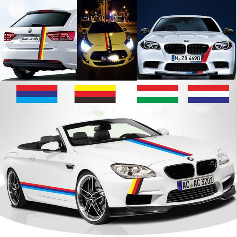 5m 4 color 3d car sticker germany italy uk flag stripe car hood vinyl sticker body decal styling vehicle automobile pegatinas in car stickers from