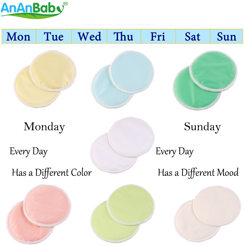 Ananbaby 14PCS Feeding Pad Reusable Washable Bamboo Nursing Pads For Mum Absorbency Wate ...