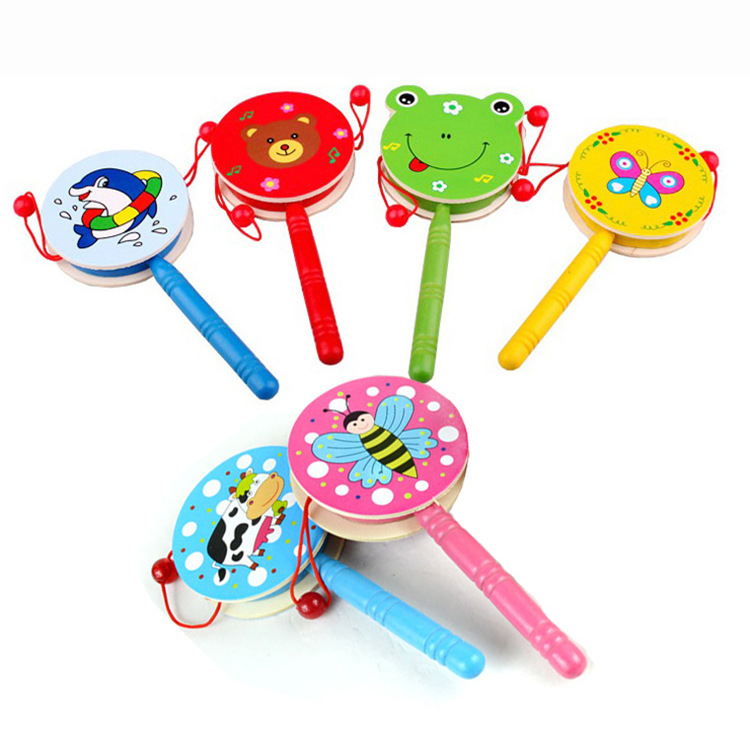 Preschool Children Wooden Toys Wooden Rattle Traditional Musical Toys Wooden Baby Rattles  Drum Musical Hand Bell Drum Toy