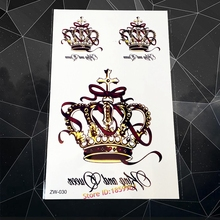 Hot Large Luxury King Queen Crown Tattoo AZW30 Sexy Women Body Art Arm Back Tatoo Flash Waterproof Temporary Tattoo Stickers