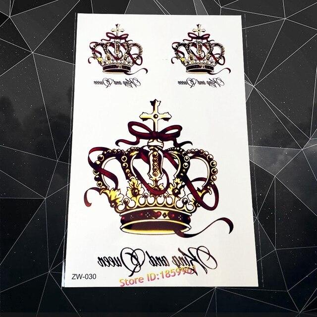 Nuevo Caliente Grande Lujo Rey Reina Corona Tatuaje Azw30 Mujeres