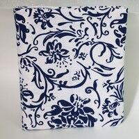 Têxtil branco azul étnico chinês 100cm * 145cm do linho do algodão da tela