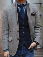 2015 Gray Tweed Tuxedos Wool Herringbone British Style Custom Made Mens Suit Tailor Slim Fit Blazer