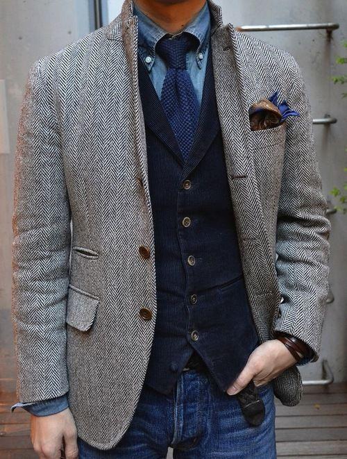 2018 Gray Wool Herringbone Tweed Tuxedo Jacket British Men