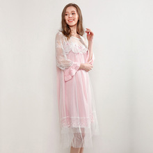Nightgowns Female Spring Summer Solid Color Mesh Double Layer Princess Retro Palace Nightdress Lace Sleeve Sleepwear D171124 new pyjamas women s summer mesh double layer solid color lace princess short sleeved nightdress large size home service d180111