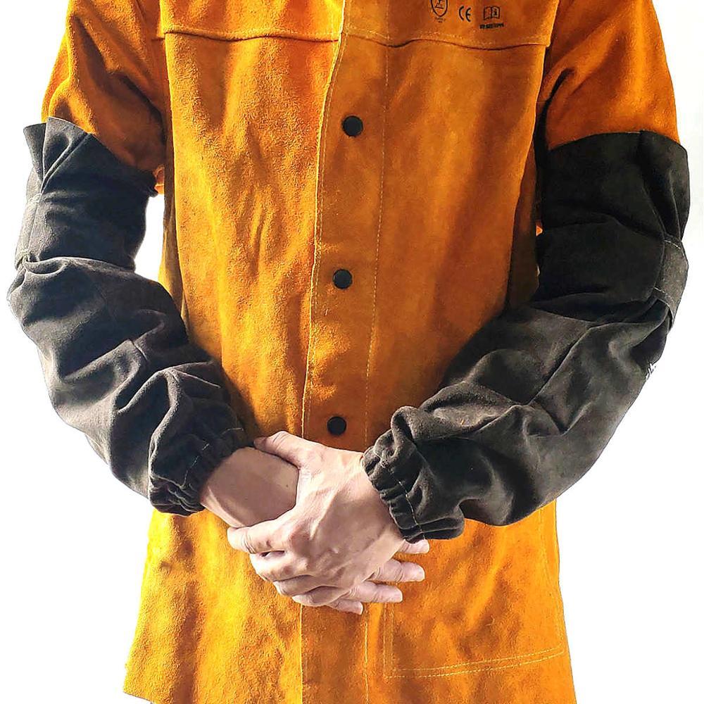 Welding Sleeve Welder Arm Sleeve Split Cowhide Leather Sleeve 48cm 19
