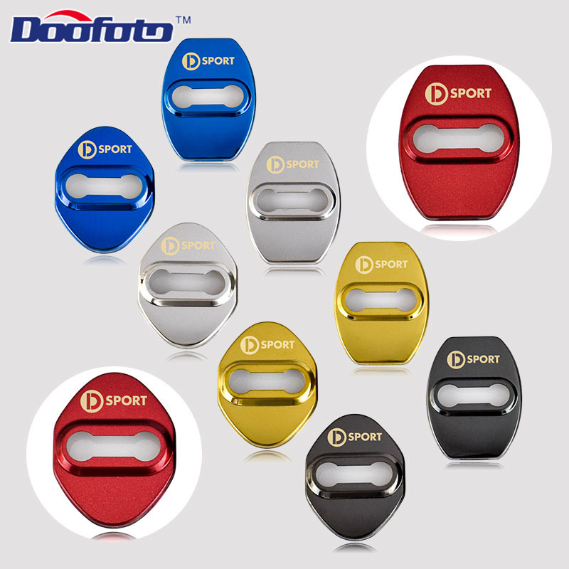 Doofoto Car Styling Auto Stainless Steel Door Lock Covers Case For Daihatsu D Sport Logo Mira For Toyota Badge Car Accessories