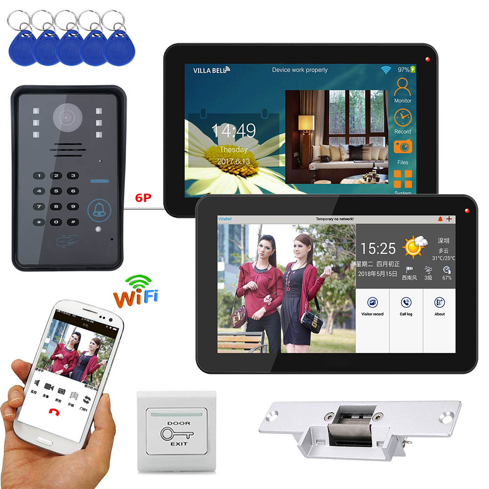 Polegada 2 9 Monitores Com Fio/Sem Fio Wifi Senha RFID Telefone Video Da Porta Campainha Intercom Sistema com Greve Elétrica Trava