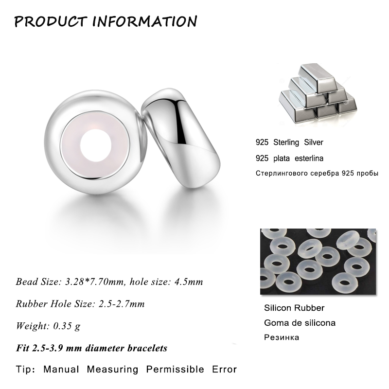 Image 2 - 10Pcs/lot Real 925 Sterling Silver 4 Styles Color Spacer Charms Stopper Beads Fit pandora charms silver 925 original bracelet-in Beads from Jewelry & Accessories