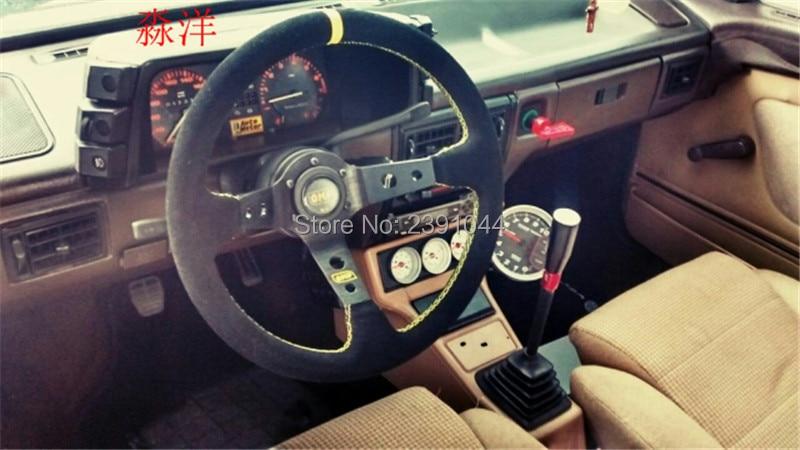цена на Steering wheel ID=14inch 350mm OMP Deep Corn Drifting Steering Wheel / Suede Leather Steering wheels yellow line