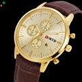 Mens Relojes de Primeras Marcas de Lujo Relojes de Los Hombres DEL NORTE Erkek Saat Moda Negocios Reloj Casual Relojes de Cuarzo de Cuero de Oro 2017
