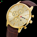 NORTH Mens Watches Top Brand Luxury Men's Watches Gold Leather Erkek Saat Fashion Business Wristwatch Casual Quartz Watches 2017