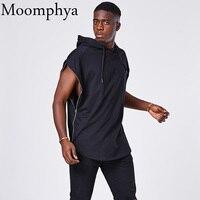 Moomphya Men full side zip hoodies áo mở rộng Câu Vàng hipster đường cong hem đầu zip không tay nam hip hop áo