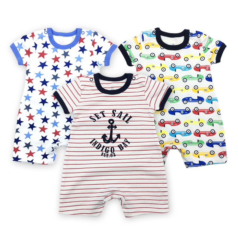 3pcs/lot Baby Rompers Summer 2018 Baby Jumpsuit Letter Cartoon Pattern Toddler Romper Short Sleeve Infant Summer Romper 3pcs set newborn infant baby boy girl clothes 2017 summer short sleeve leopard floral romper bodysuit headband shoes outfits