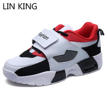 LIN KING Breathable Men Sneakers Low Top Wedges Ankle Shoes Thick Sole Man Light Casual Outside Footwear Male Travel