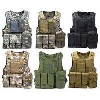 Hot Sale 7 Colors Camouflage Military Tactical Vest CS Outdoor Jungle Hunting Vest Amphibious Molle Waistcoat Carrier Vest