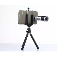 Super Metal Portable Clip 20mm 12X Zoom Telephoto Lens Mobile Phone Camera Kit with Tripod and Phone Case for Samsung Galaxy S5