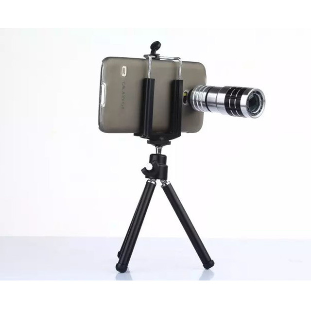 Super Portátil De Metal Clip de 20mm Teleobjetivo de 12X de Zoom Teléfono Móvil kit de la cámara con trípode y estuche para teléfono samsung galaxy s5