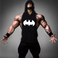 2017Batman Prints Golds Stringer Hoodies Gymnasium Hooded Tank Top Bodybuilding Brand Tee Men Clothing Sweat Shirts