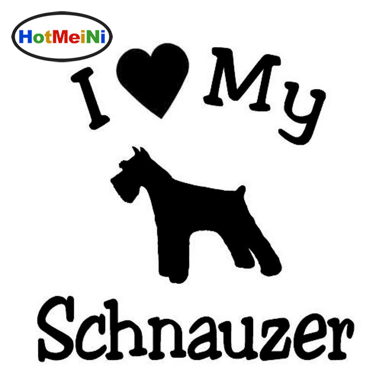 Car Styling I Love My Dog Schnauzer Pet Car Sticker And Decals 13.4CM*13CM standard schnauzer
