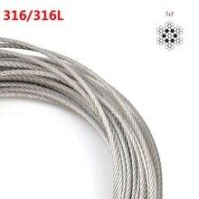 10 метров диаметр 0,8/1,0/1,2/1,5/2,0/2,5/3 мм Аутентичные морские мореходные Ранг 316 316L нержавеющая сталь трос 7*7 Структура кабеля