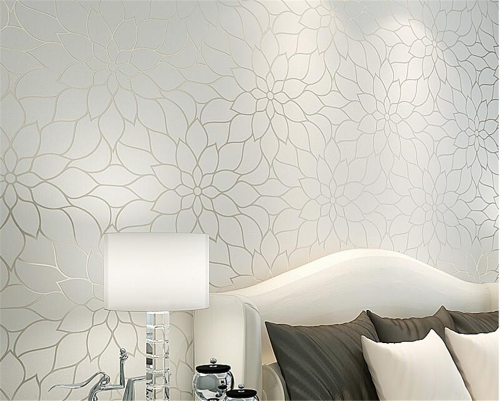 Beibehang Modern white yellow lotus living room wallpaper bedroom TV background wall 3d wallpaper rolls wallpaper for walls 3 d beibehang high quality embossed wallpaper for living room bedroom wall paper roll desktop tv background wallpaper for walls 3 d