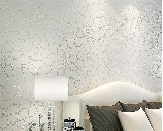 Beibehang Moderne weiß gelb lotus wohnzimmer tapete schlafzimmer TV ...