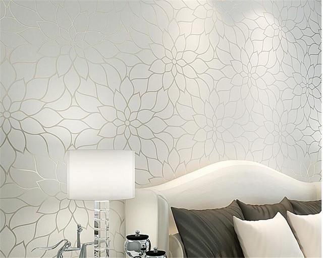 Beibehang Moderne wit geel lotus woonkamer behang slaapkamer TV ...