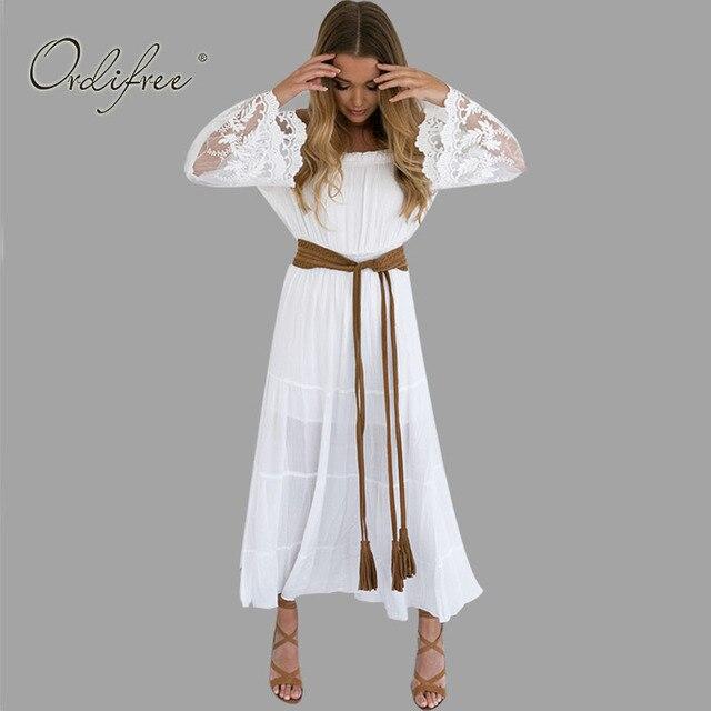 2018 летний сарафан длинные Для женщин белый пляжное платье без бретелек с длинным рукавом свободные сексуальные с открытыми плечами Кружево Boho хлопок платье Макси