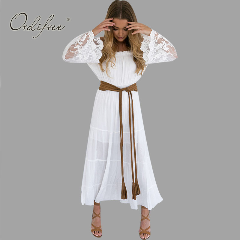 2019 Summer Sundress Long Women White Beach Dress Strapless Long Sleeve Loose Sexy Off Shoulder Lace Boho Cotton Maxi Dress