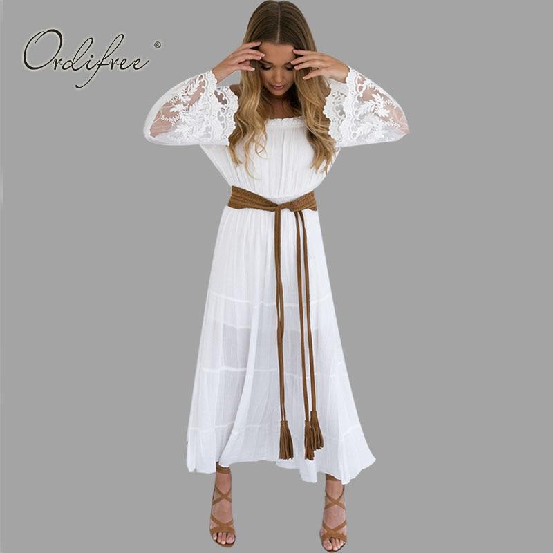 2019 été robe longue femmes blanc plage robe sans bretelles à manches longues lâche Sexy hors épaule dentelle Boho coton Maxi robe