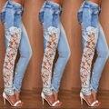 De Gran Tamaño S-XXXL 2016 Jeans Para Mujeres Sexy Crochet Lace Patchwork Hollow Out Jean de Mezclilla Azul Pantalones Flacos Pantalones P8103