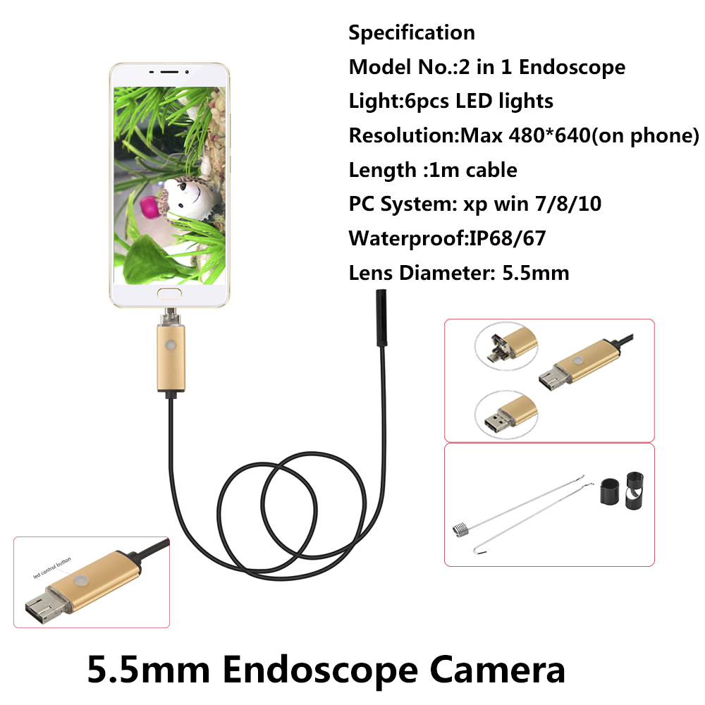 1M Long 6 Adjustable LED 5.5mm Lens Endoscope 480P Android PC USB Endoscope Inspection Borescope Tupe Camera Waterproof