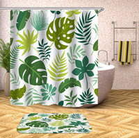 Dropshipping 3D Green Plant Floral Polyester Shower Curtains Washable Bathroom Decor Screens for Bathroom Shower Customized