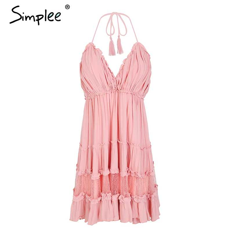 aac42a3778 ... Simplee Strap backless mini summer dress women V neck tassel sexy lace  white dress female 2018 ...