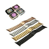 New Luxury Watchband Metal Straps For Apple Watchband 42mm Stainless Steel Link Bracelet Adapter Case Cover