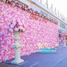 40*60cm Artificial Flower Wall Rose Peony Heads Silk Decorative Wedding Hotel Background Decor 10pcs/lot
