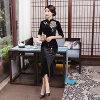 Black Traditional Chinese Women Velvet Dress Novelty Embroidery Flower Slim Qipao Plus Size 3XL 4XL High