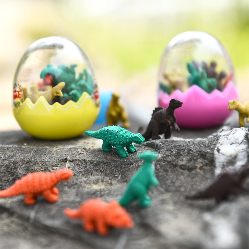 7pcs/bottle Mini Dinosaur Egg Erasers Kids Funny Pencil Rubber Eraser In Egg For Kids Student Novelty Gift School Stationery