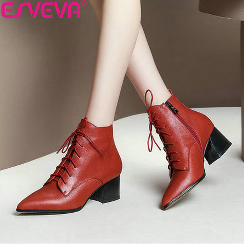 ESVEVA 2019 Woman Boots Cow Leather Zip High Heels Shoes Winter Boots Women Ankle Boots Square Heels Shoes Pointed Toe 34-43 цены онлайн