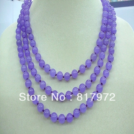 Glamour Lucky 8mm Purple Bead Necklace Woman Party Gift Length 120cm