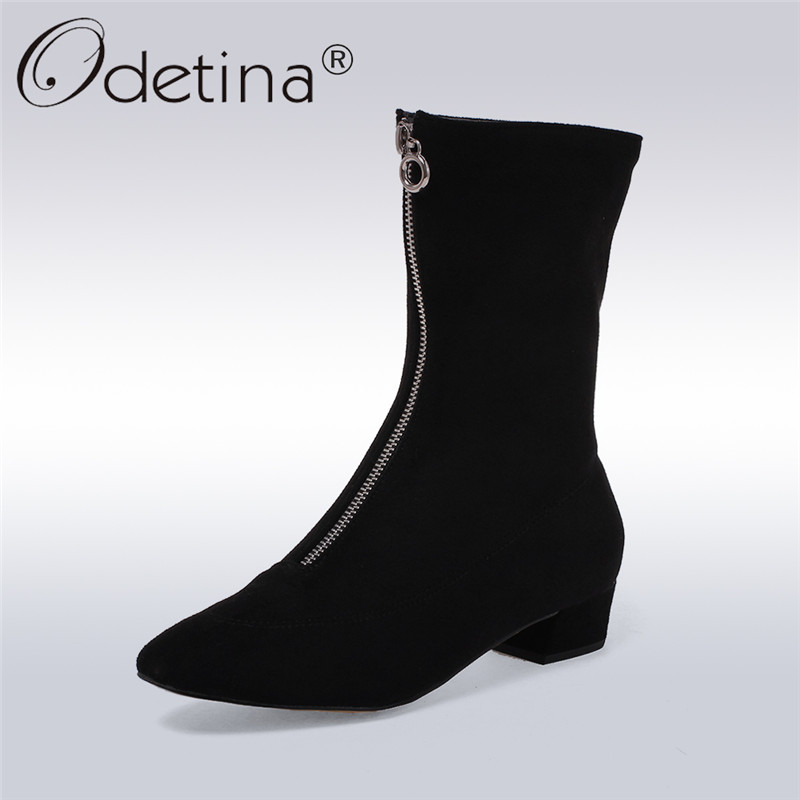 Odetina 2017 New Faux Suede Mid-calf Boots with Front Zipper Chunky Heel Elastic Boots Thick Plush Winter Warm Shoes Big Size 43 double buckle cross straps mid calf boots
