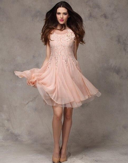 33723aac8d9 UK Brand New 2014 Women Summer Dress White Pink Skin color Short sleeve  Lace Chiffon A line Elegant dresses Vestido Feminine