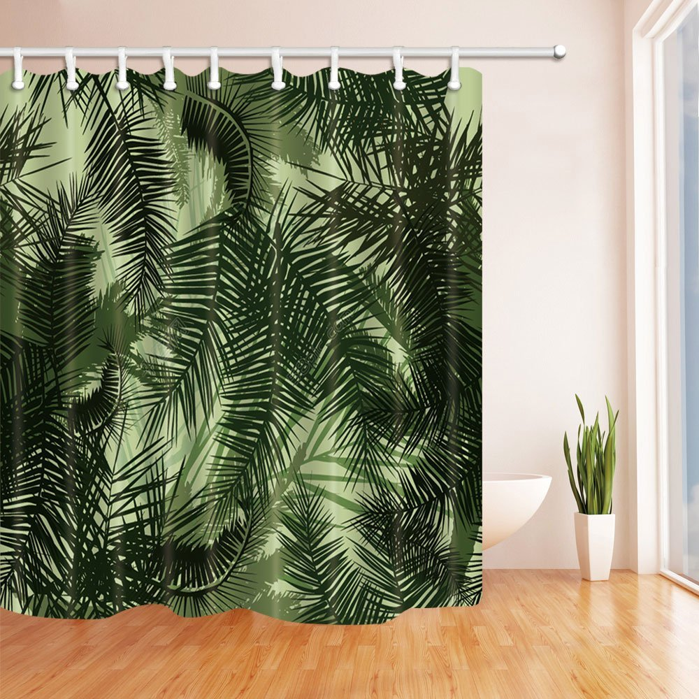 3d Digital Printing Leaves Palm Tree In Green Shower Curtain