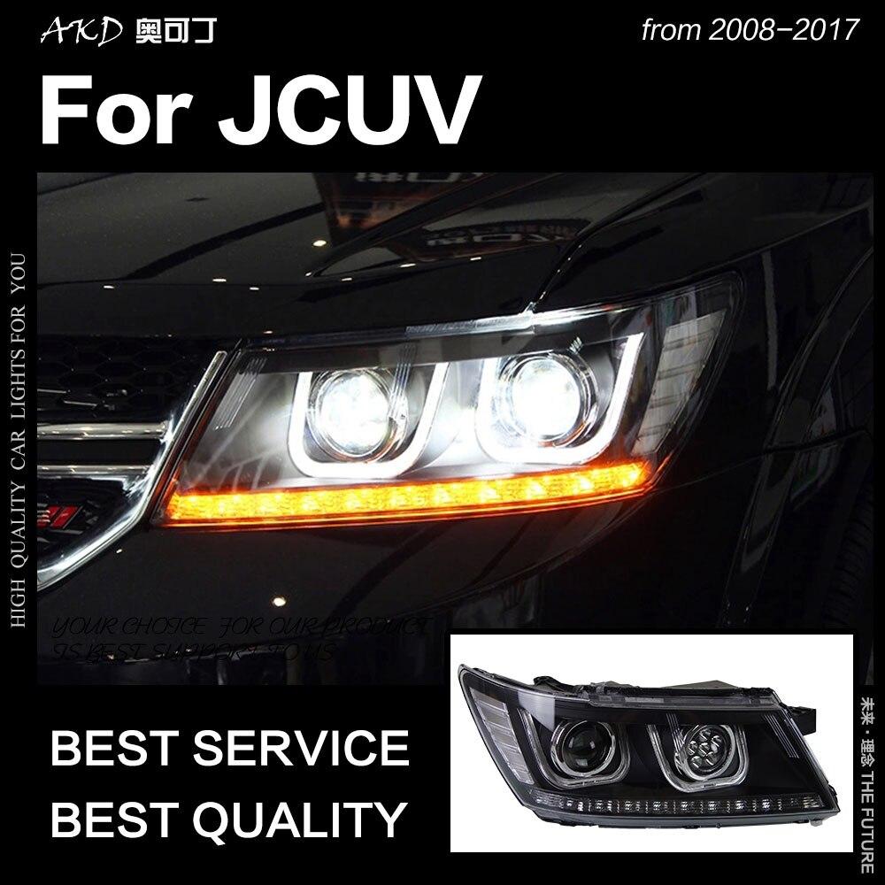 AKD Voiture pour Dodge JCUV Phares 2009-2017 Voyage Phare LED DRL Caché Freemont Oeil D'ange Bi Xénon faisceau Accessoires