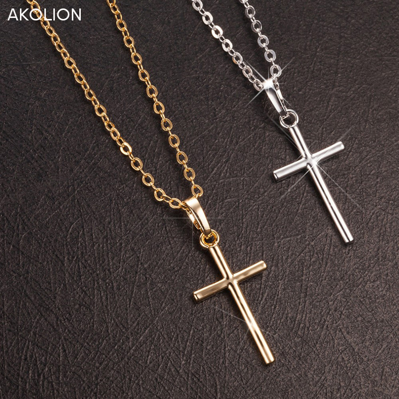 AKOLION 2017 Hot Sale Silver Cross Necklaces Pendant Jewelry Fashion Women Statement 925 Necklace wholesale