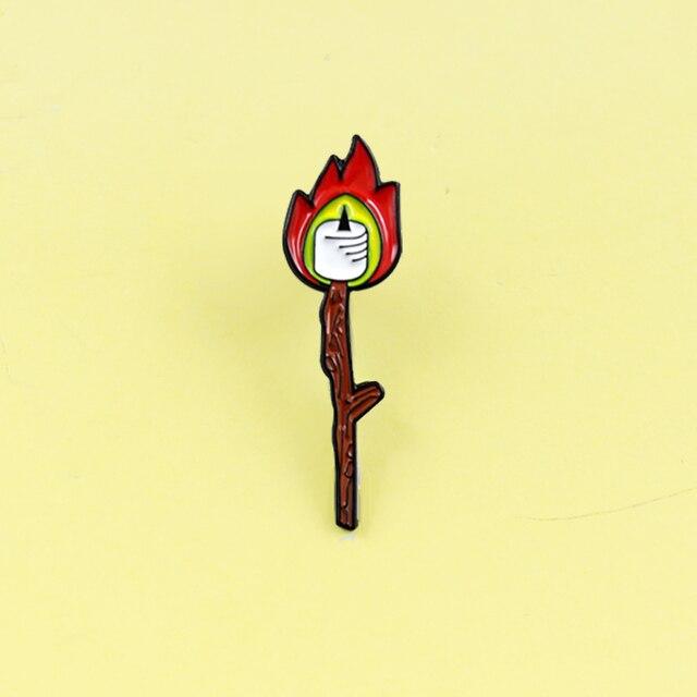 Partita forma di Candela fiamma Rossa Spilla Dello Smalto Del Fumetto Spilli Candela Spilla Per Le Donne dei monili di Halloween Spilli Accessori regalo Brosche