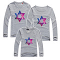 2015 autumn family clothing cotton t shirts matching mother daughter clothes father and son suits plus size