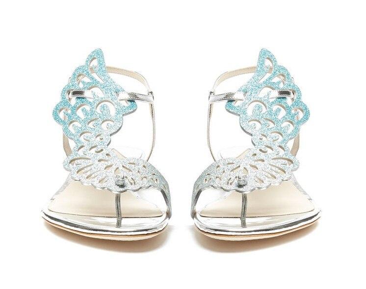 Nuevo rosa/Negro brillo Ángel ala Sandalias planas espejo cuero gladiador Tanga sandalias Bling cristal Chanclas Mujer Zapatos - 4